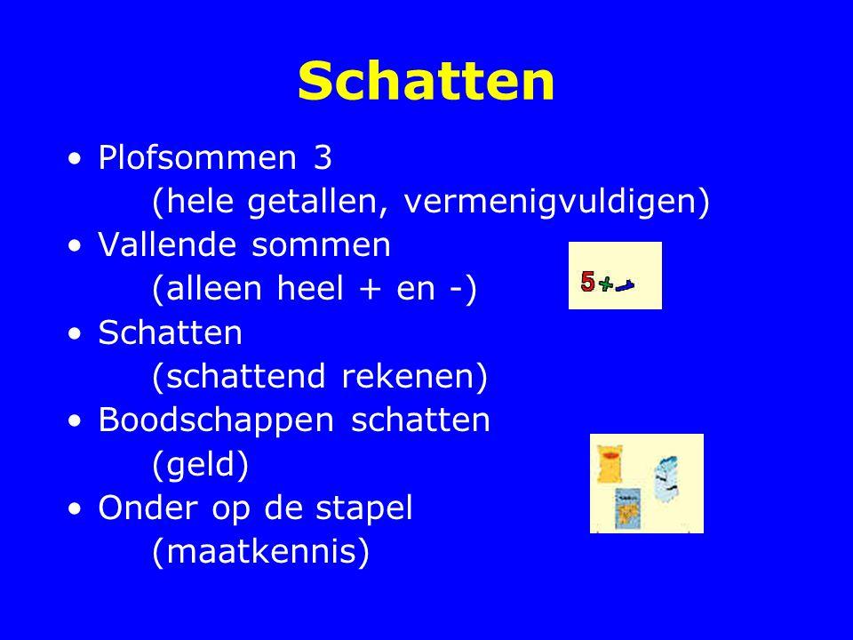 Schatten Plofsommen 3 (hele getallen, vermenigvuldigen) Vallende sommen (alleen heel + en -) Schatten (schattend rekenen) Boodschappen schatten (geld)