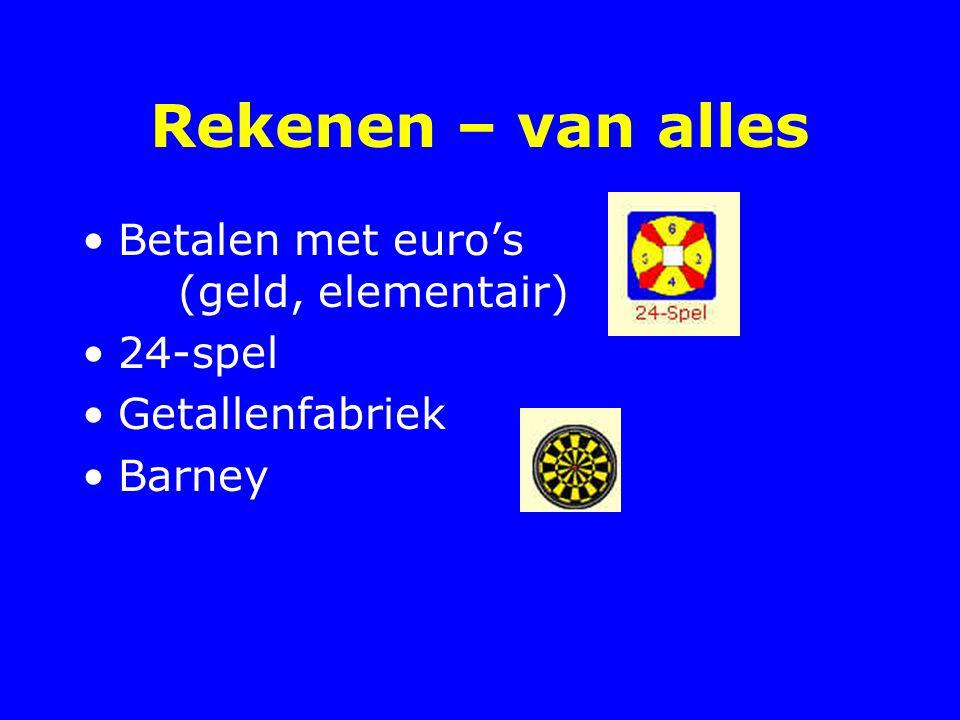 Rekenen – van alles Betalen met euro's (geld, elementair) 24-spel Getallenfabriek Barney
