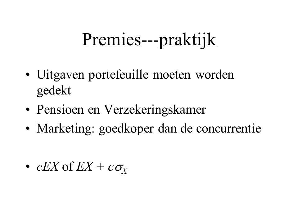 Premies---praktijk Uitgaven portefeuille moeten worden gedekt Pensioen en Verzekeringskamer Marketing: goedkoper dan de concurrentie cEX of EX + c  X