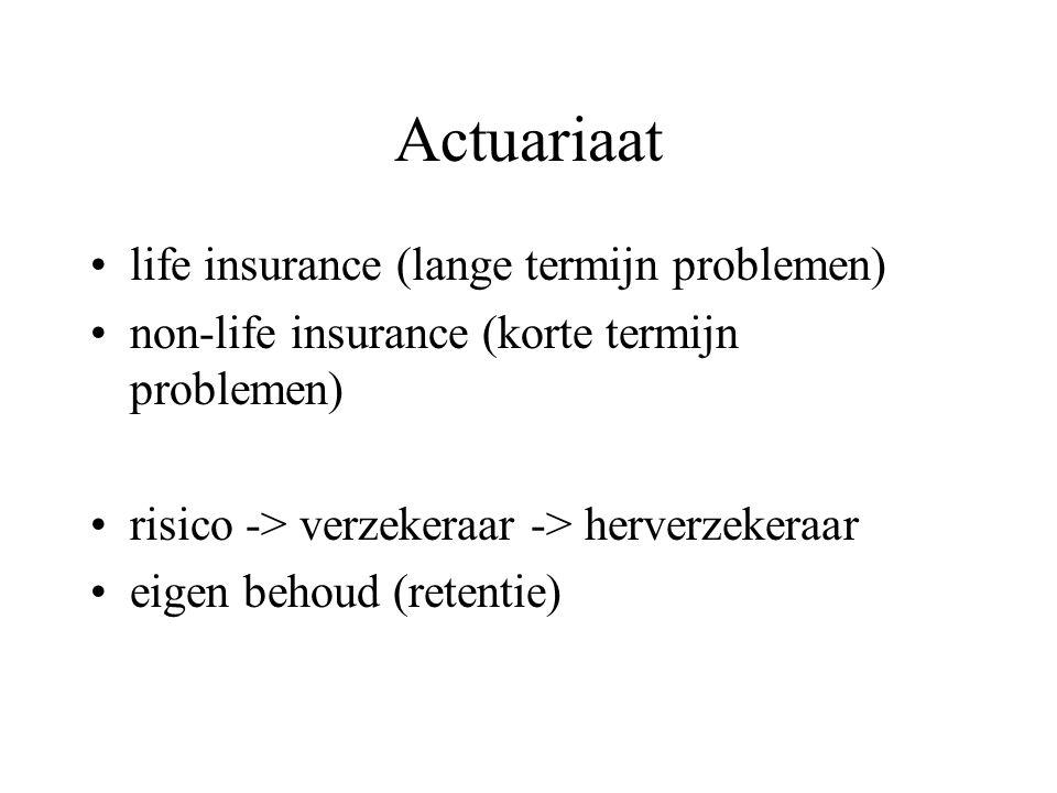 Actuariaat life insurance (lange termijn problemen) non-life insurance (korte termijn problemen) risico -> verzekeraar -> herverzekeraar eigen behoud (retentie)