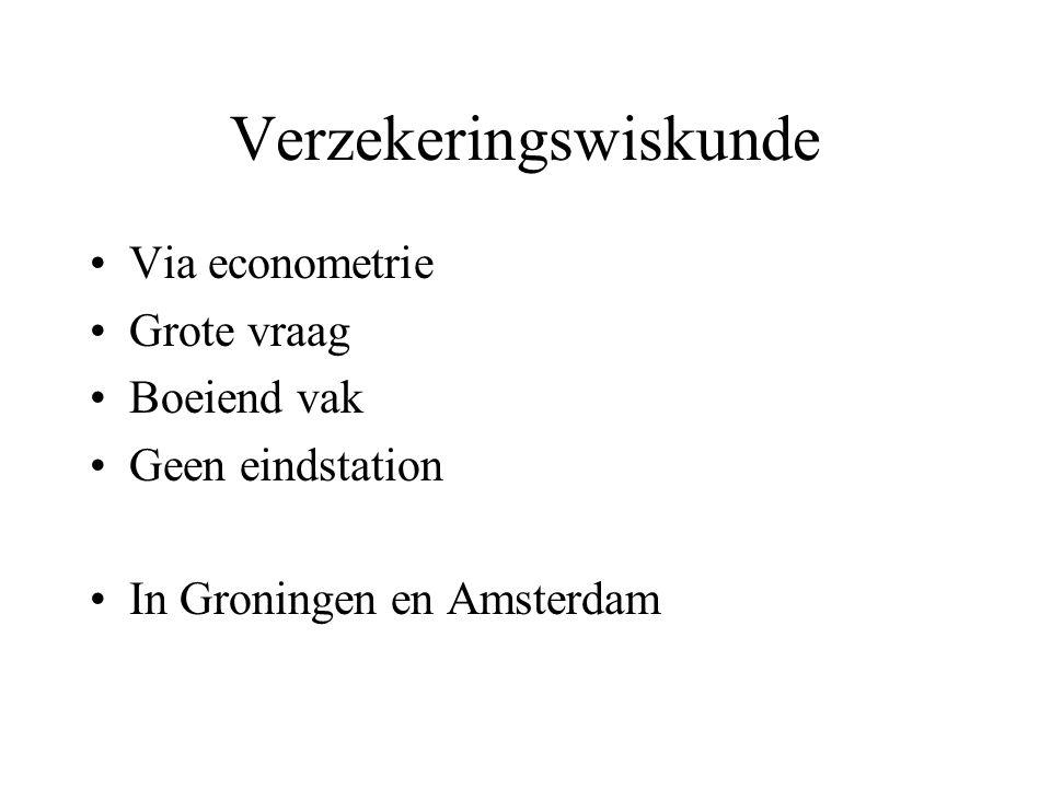 Verzekeringswiskunde Via econometrie Grote vraag Boeiend vak Geen eindstation In Groningen en Amsterdam