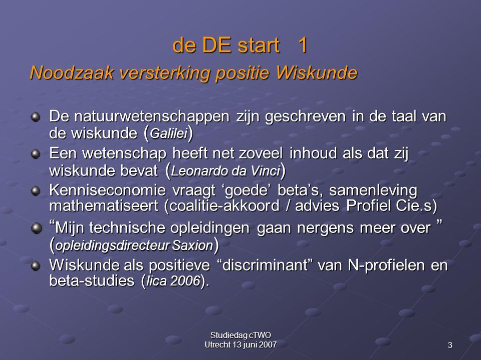 3 Studiedag cTWO Utrecht 13 juni 2007 de DE start 1 Noodzaak versterking positie Wiskunde De natuurwetenschappen zijn geschreven in de taal van de wiskunde ( Galilei ) Een wetenschap heeft net zoveel inhoud als dat zij wiskunde bevat ( Leonardo da Vinci ) Kenniseconomie vraagt 'goede' beta's, samenleving mathematiseert (coalitie-akkoord / advies Profiel Cie.s) Mijn technische opleidingen gaan nergens meer over ( opleidingsdirecteur Saxion ) Wiskunde als positieve discriminant van N-profielen en beta-studies ( lica 2006 ).
