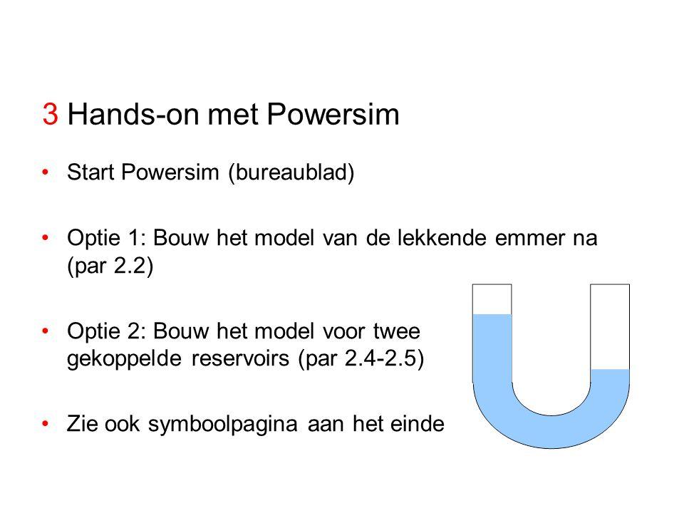 Variabelen en symbolen in Powersim niveauvariabelestroomvariabele stroompijl relatiepijl constante Bron / put