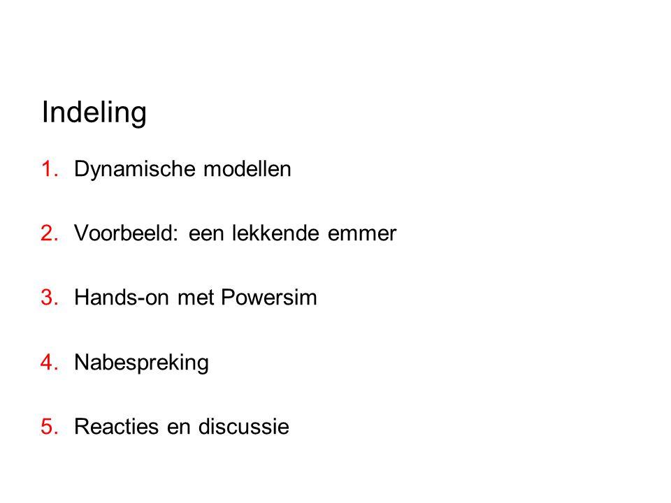 Indeling 1.Dynamische modellen 2.Voorbeeld: een lekkende emmer 3.Hands-on met Powersim 4.Nabespreking 5.Reacties en discussie