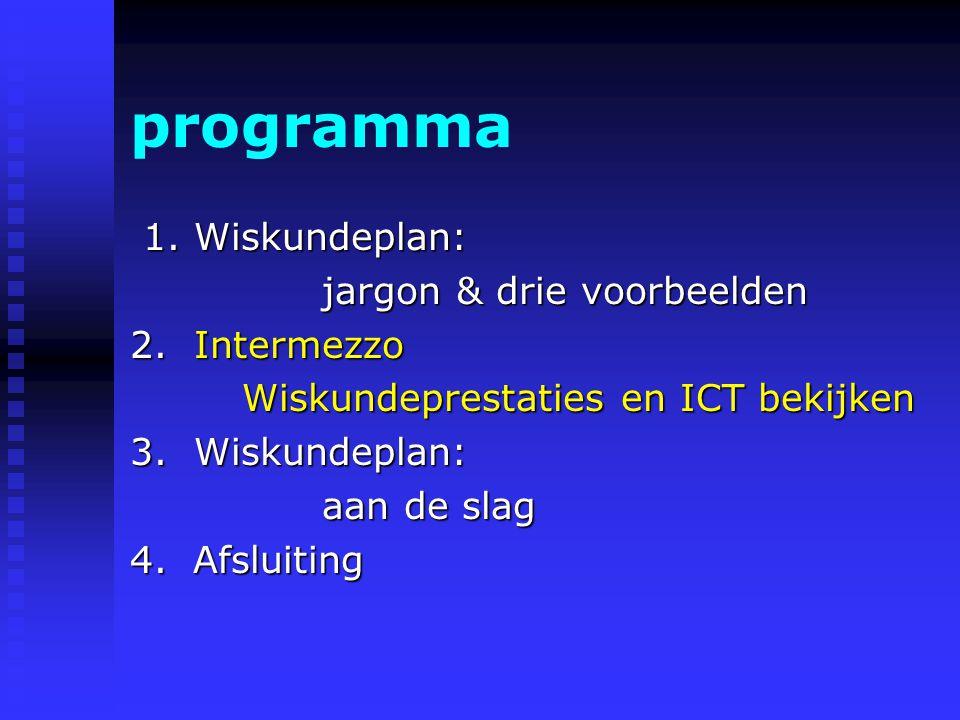 programma 1.Wiskundeplan: 1.Wiskundeplan: jargon & drie voorbeelden jargon & drie voorbeelden 2.Intermezzo Wiskundeprestaties en ICT bekijken 3.Wiskundeplan: aan de slag 4.