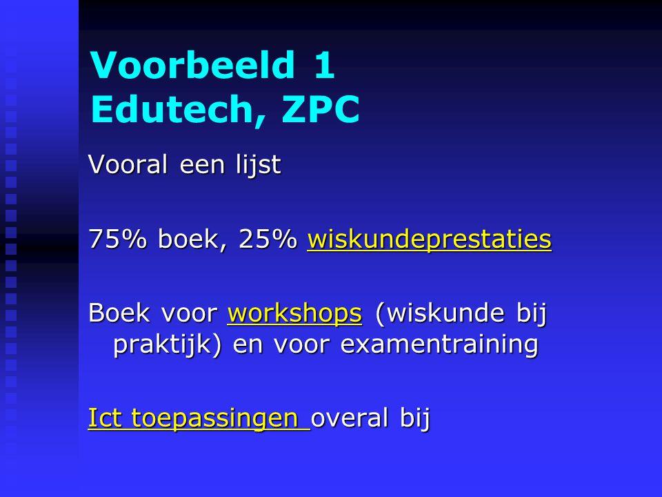 Voorbeeld 1 Edutech, ZPC Vooral een lijst 75% boek, 25% wiskundeprestaties wiskundeprestaties Boek voor workshops (wiskunde bij praktijk) en voor examentraining workshops Ict toepassingen Ict toepassingen overal bij Ict toepassingen