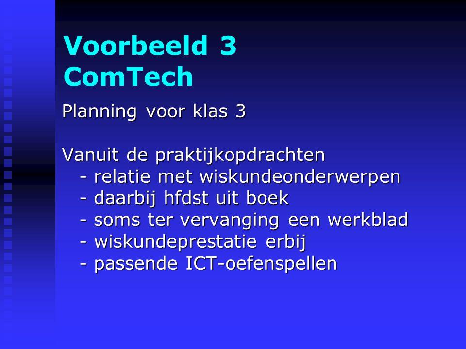 Voorbeeld 3 ComTech Planning voor klas 3 Vanuit de praktijkopdrachten - relatie met wiskundeonderwerpen - daarbij hfdst uit boek - soms ter vervanging een werkblad - wiskundeprestatie erbij - passende ICT-oefenspellen