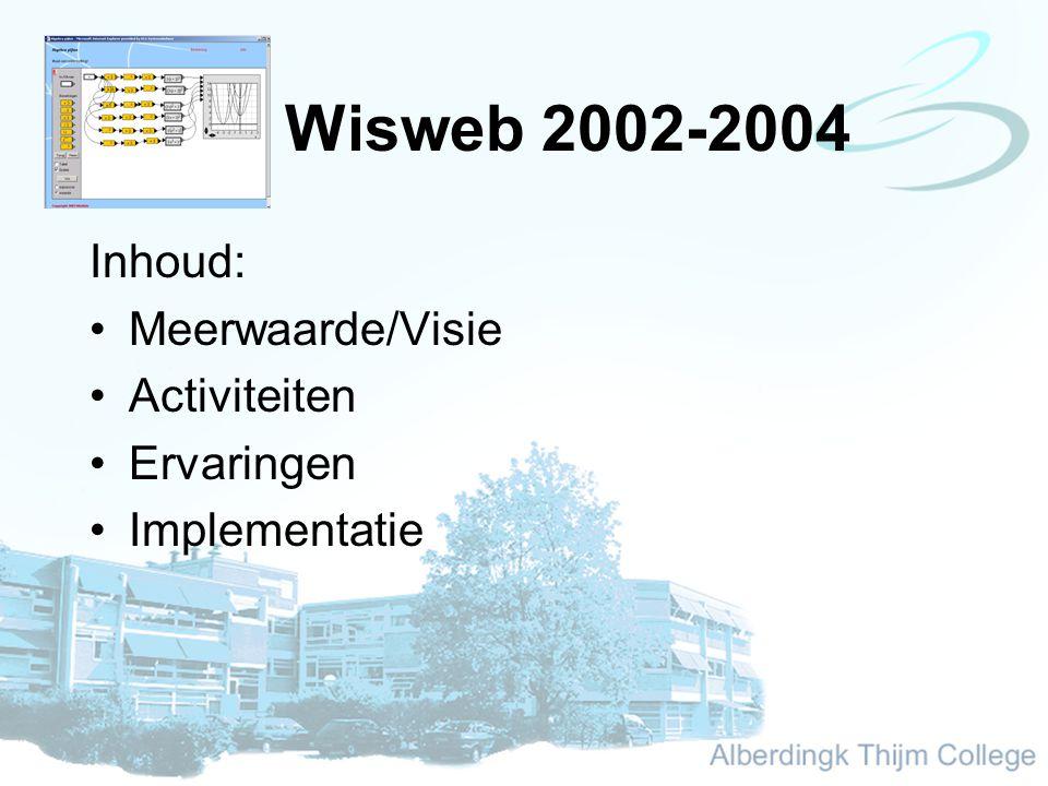 Wisweb 2002-2004 Inhoud: Meerwaarde/Visie Activiteiten Ervaringen Implementatie