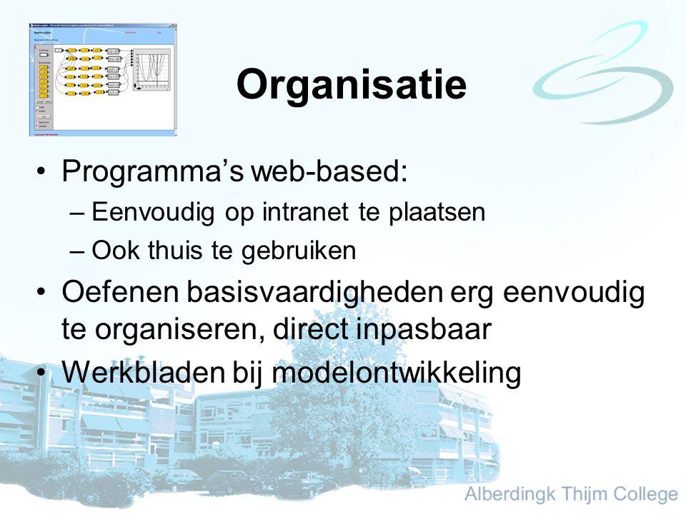 Organisatie Programma's web-based: –Eenvoudig op intranet te plaatsen –Ook thuis te gebruiken Oefenen basisvaardigheden erg eenvoudig te organiseren, direct inpasbaar Werkbladen bij modelontwikkeling