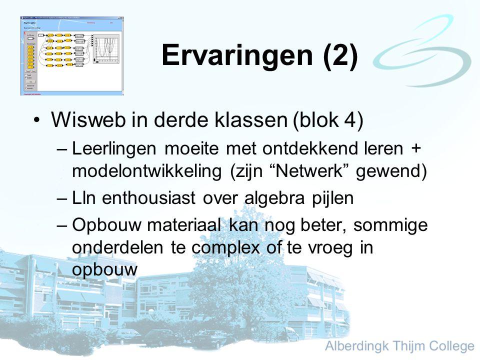 Ervaringen (2) Wisweb in derde klassen (blok 4) –Leerlingen moeite met ontdekkend leren + modelontwikkeling (zijn Netwerk gewend) –Lln enthousiast over algebra pijlen –Opbouw materiaal kan nog beter, sommige onderdelen te complex of te vroeg in opbouw