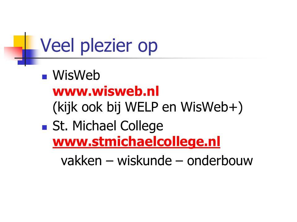 Veel plezier op WisWeb www.wisweb.nl (kijk ook bij WELP en WisWeb+) St. Michael College www.stmichaelcollege.nl www.stmichaelcollege.nl vakken – wisku