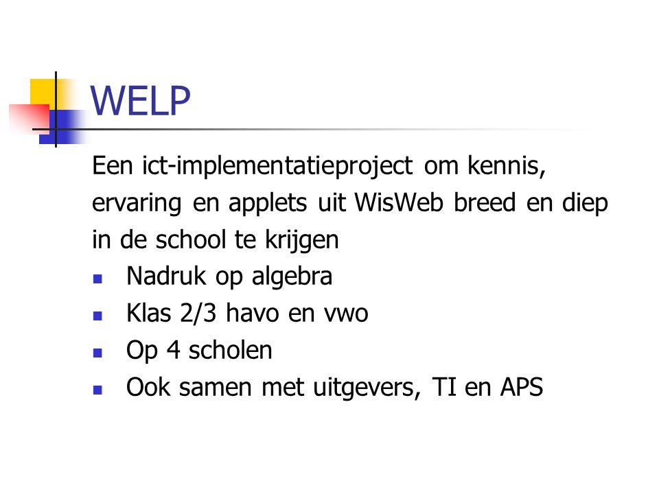 WELP Een ict-implementatieproject om kennis, ervaring en applets uit WisWeb breed en diep in de school te krijgen Nadruk op algebra Klas 2/3 havo en v