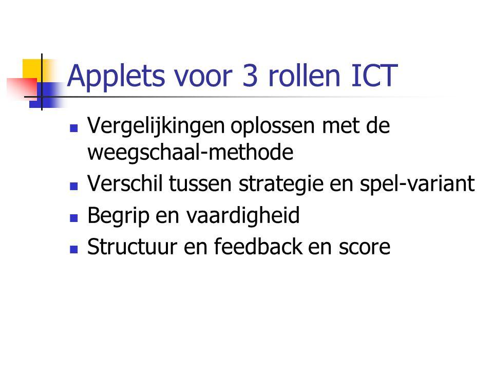 Applets voor 3 rollen ICT Vergelijkingen oplossen met de weegschaal-methode Verschil tussen strategie en spel-variant Begrip en vaardigheid Structuur