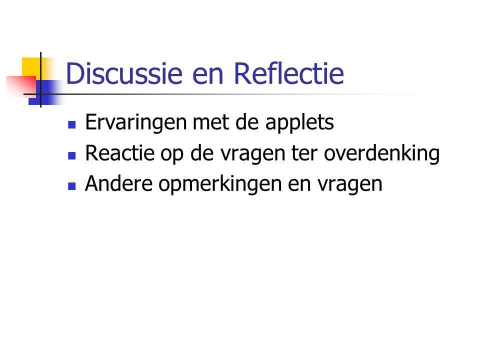 Discussie en Reflectie Ervaringen met de applets Reactie op de vragen ter overdenking Andere opmerkingen en vragen