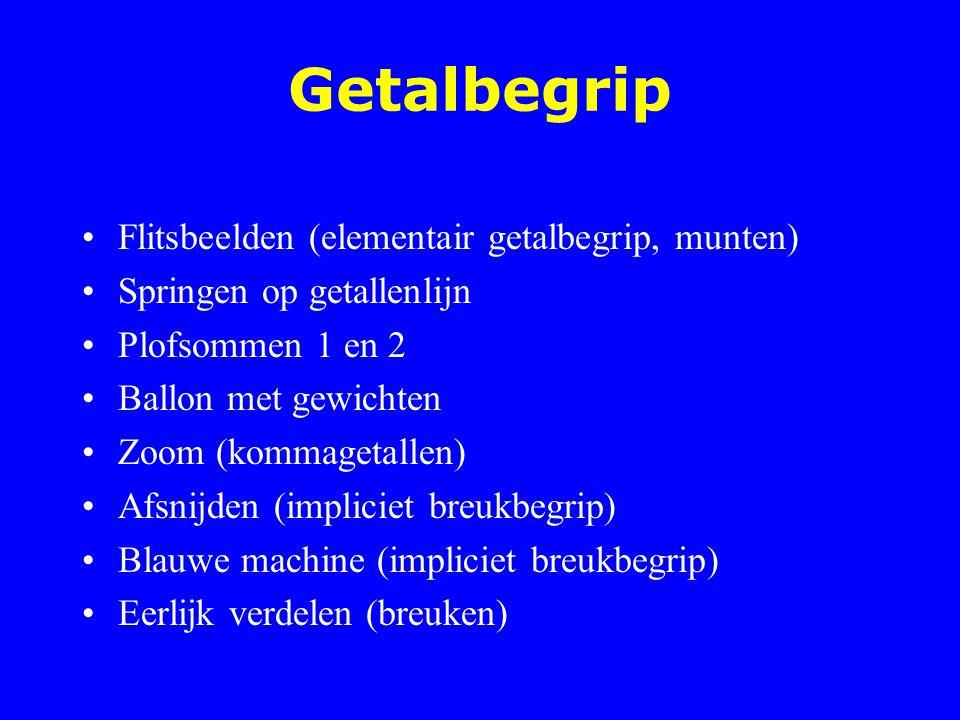 Getalbegrip Flitsbeelden (elementair getalbegrip, munten) Springen op getallenlijn Plofsommen 1 en 2 Ballon met gewichten Zoom (kommagetallen) Afsnijd