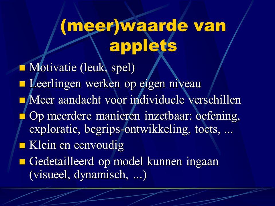ICT-implementatie, met discussie Peter van Wijk, APS-wiskunde Toekomstige applets Peter Boon, Freudenthal Instituut