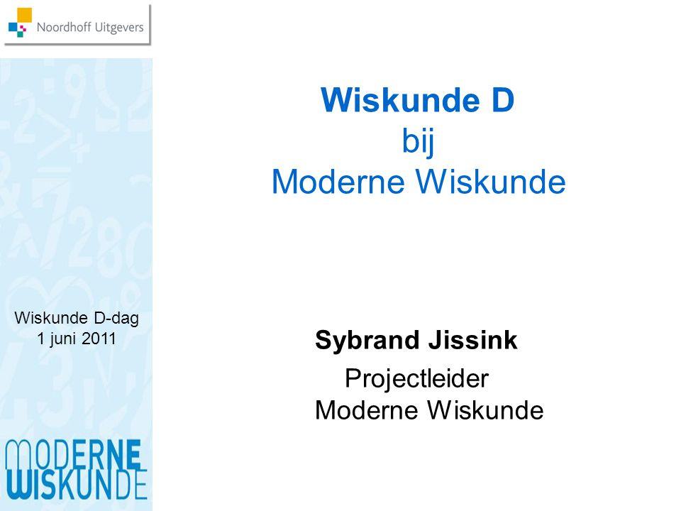 Wiskunde D-dag 1 juni 2011 Wiskunde D bij Moderne Wiskunde Sybrand Jissink Projectleider Moderne Wiskunde