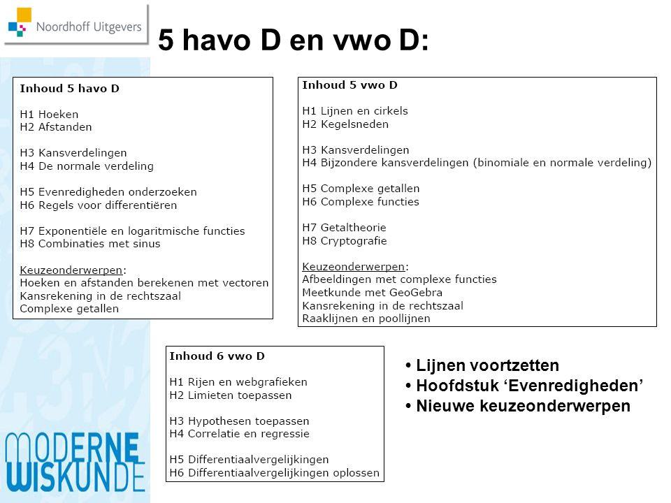 5 havo D en vwo D: Lijnen voortzetten Hoofdstuk 'Evenredigheden' Nieuwe keuzeonderwerpen
