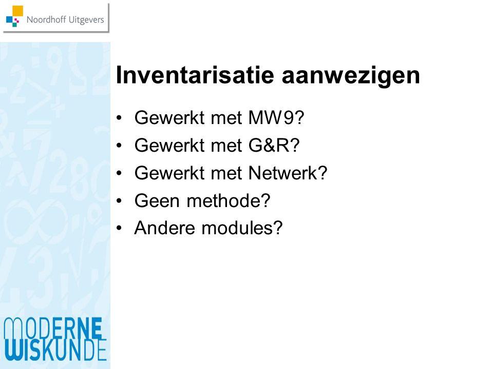 Inventarisatie aanwezigen Gewerkt met MW9? Gewerkt met G&R? Gewerkt met Netwerk? Geen methode? Andere modules?