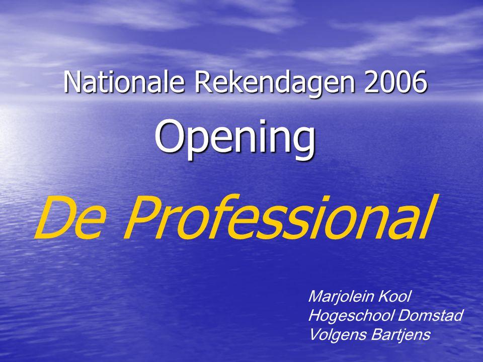 Nationale Rekendagen 2006 Opening Marjolein Kool Hogeschool Domstad Volgens Bartjens De Professional