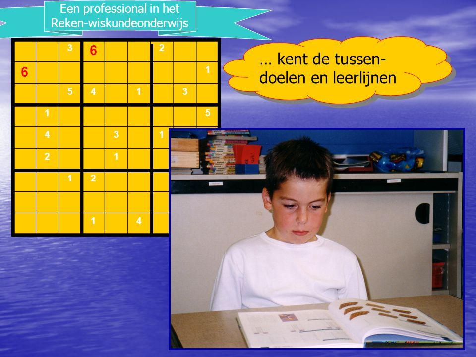 3 6 2 6 1 5413 15 431 21 12 1 145 Een professional in het Reken-wiskundeonderwijs … kent de tussen- doelen en leerlijnen