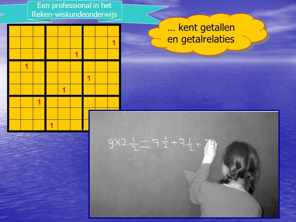 2 1 1 1 1 2 1 1 2 1 1 Een professional in het Reken-wiskundeonderwijs … kan zijn rekenvaardigheid toepassen in de werkelijkheid