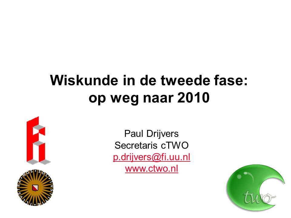 Wiskunde in de tweede fase: op weg naar 2010 Paul Drijvers Secretaris cTWO p.drijvers@fi.uu.nl www.ctwo.nl