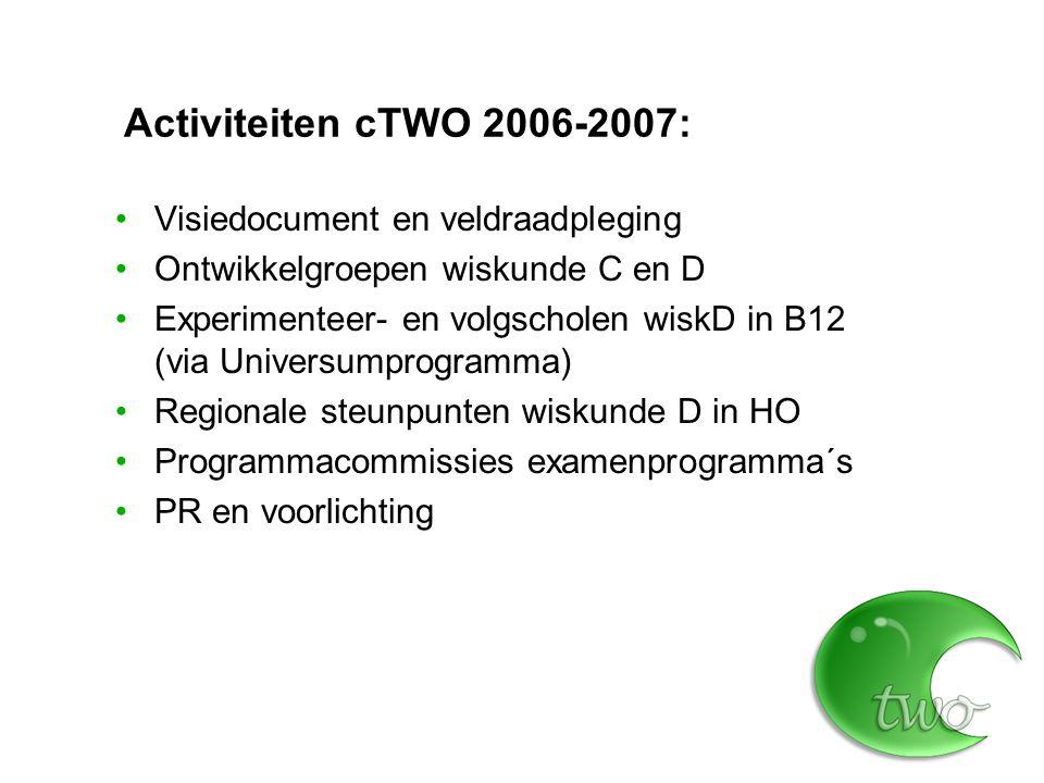 Naar examenprogramma's 2010 7 examenprogramma's (vwo ABCD, havo ABD) cTWO programmacommissies, aangevuld met externen, met name docenten Afstemming OC