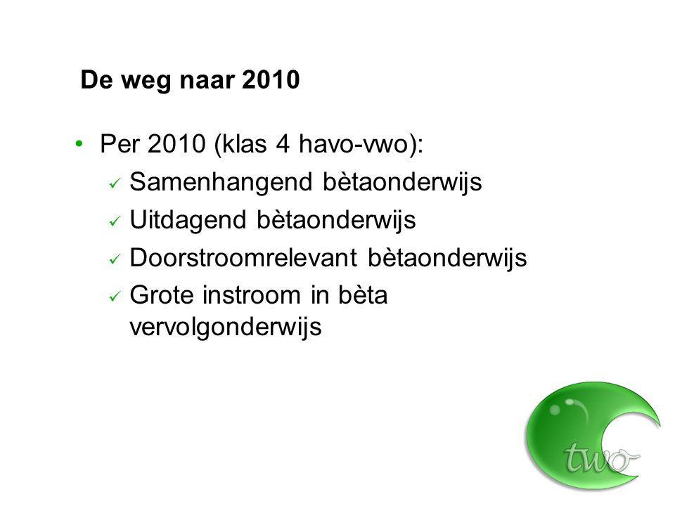 De weg naar 2010 Per 2010 (klas 4 havo-vwo): Samenhangend bètaonderwijs Uitdagend bètaonderwijs Doorstroomrelevant bètaonderwijs Grote instroom in bèta vervolgonderwijs