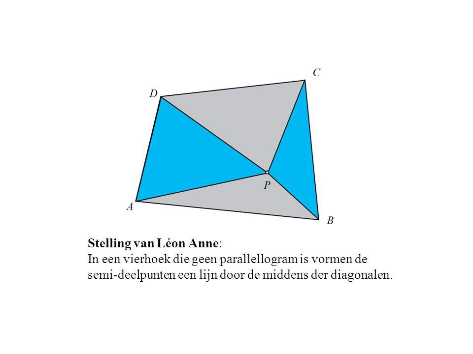Stelling van Léon Anne: In een vierhoek die geen parallellogram is vormen de semi-deelpunten een lijn door de middens der diagonalen.