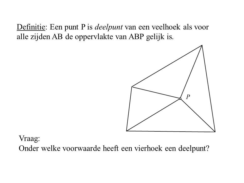 Vraag: Onder welke voorwaarde heeft een vierhoek een deelpunt? Definitie: Een punt P is deelpunt van een veelhoek als voor alle zijden AB de oppervlak