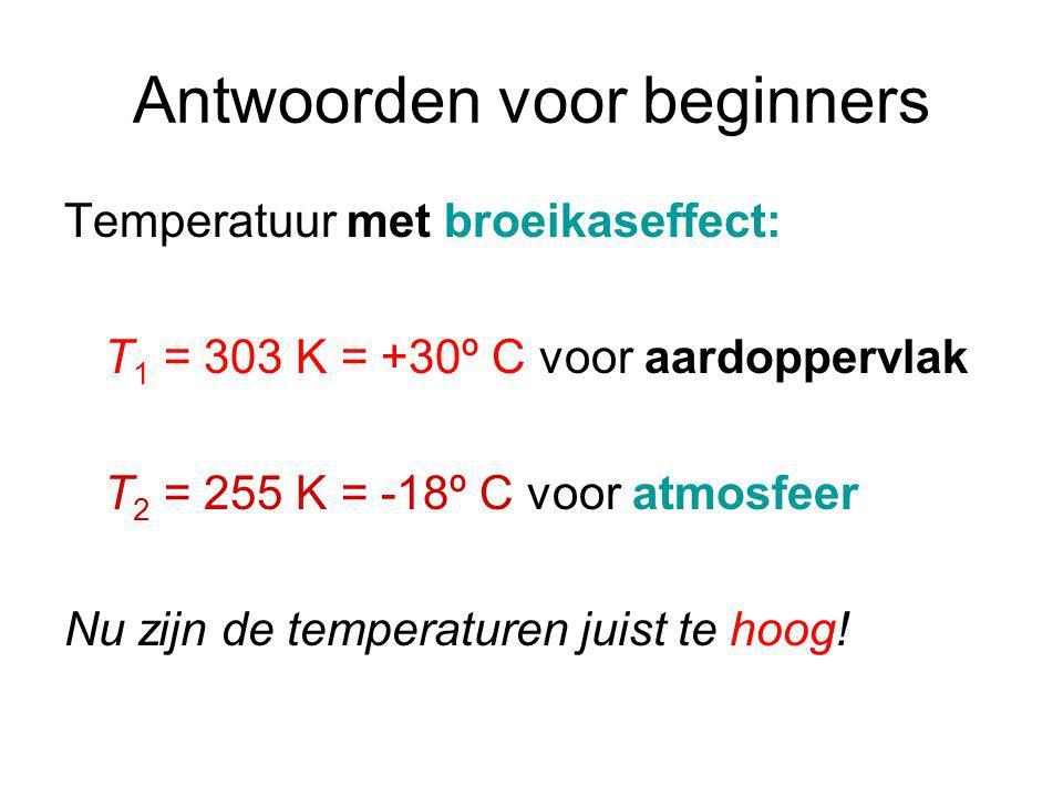 Antwoorden voor beginners Temperatuur met broeikaseffect: T 1 = 303 K = +30º C voor aardoppervlak T 2 = 255 K = -18º C voor atmosfeer Nu zijn de temperaturen juist te hoog!