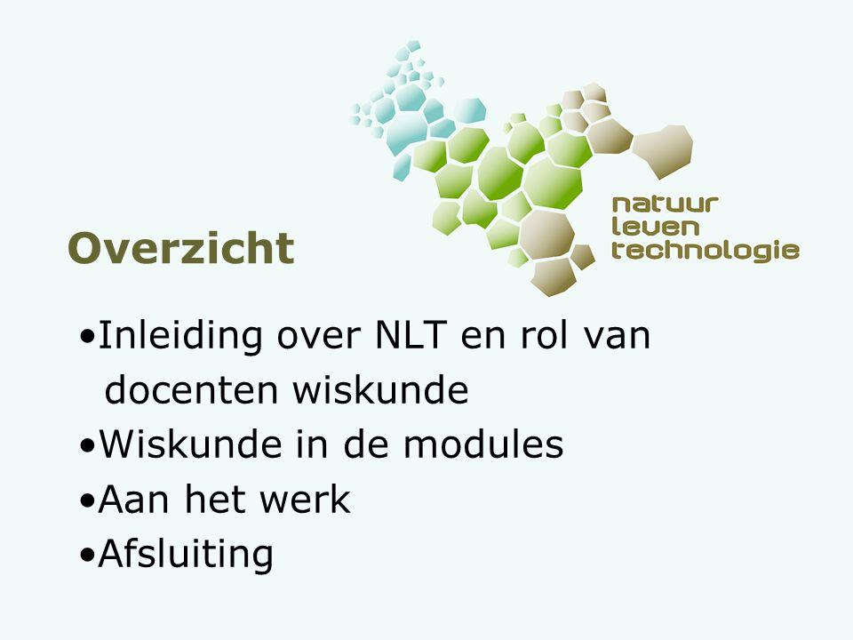 Overzicht Inleiding over NLT en rol van docenten wiskunde Wiskunde in de modules Aan het werk Afsluiting