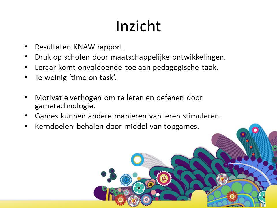 Inzicht Resultaten KNAW rapport. Druk op scholen door maatschappelijke ontwikkelingen. Leraar komt onvoldoende toe aan pedagogische taak. Te weinig 't