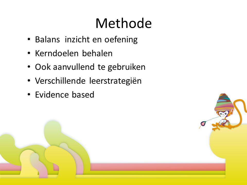 Methode Balans inzicht en oefening Kerndoelen behalen Ook aanvullend te gebruiken Verschillende leerstrategiën Evidence based