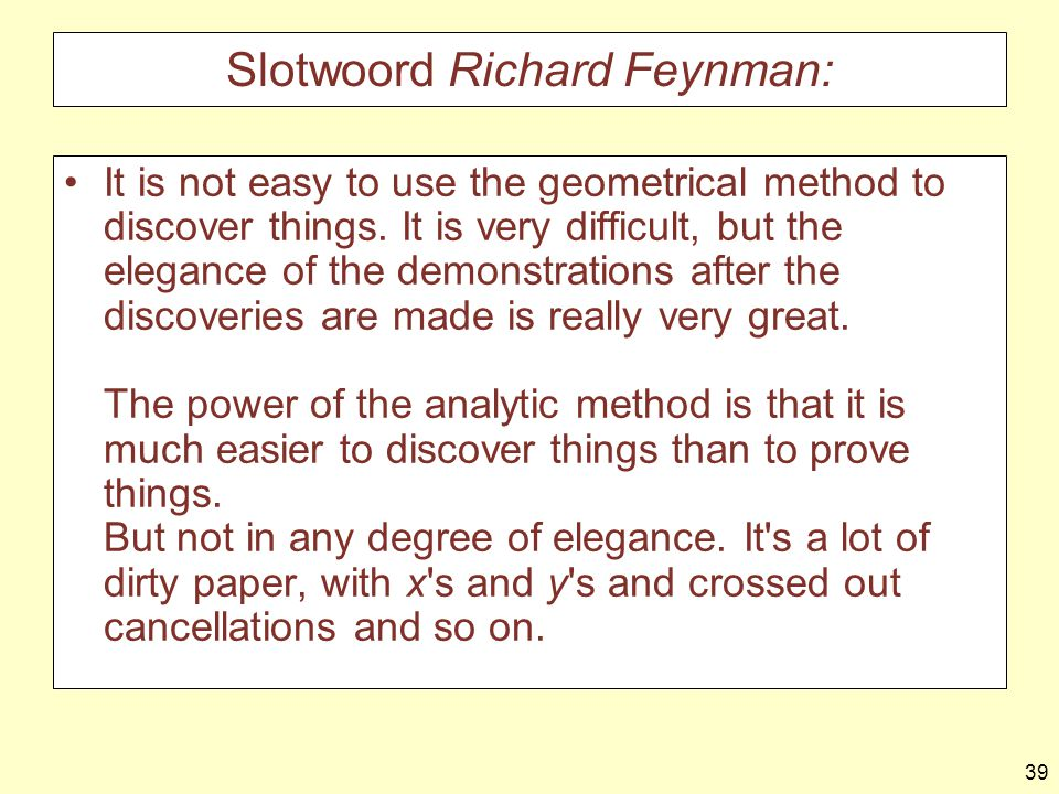 39 Slotwoord Richard Feynman: It is not easy to use the geometrical method to discover things.