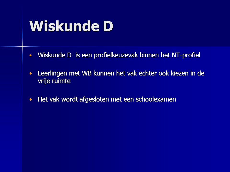 Wiskunde D Wiskunde D is een profielkeuzevak binnen het NT-profiel Wiskunde D is een profielkeuzevak binnen het NT-profiel Leerlingen met WB kunnen he