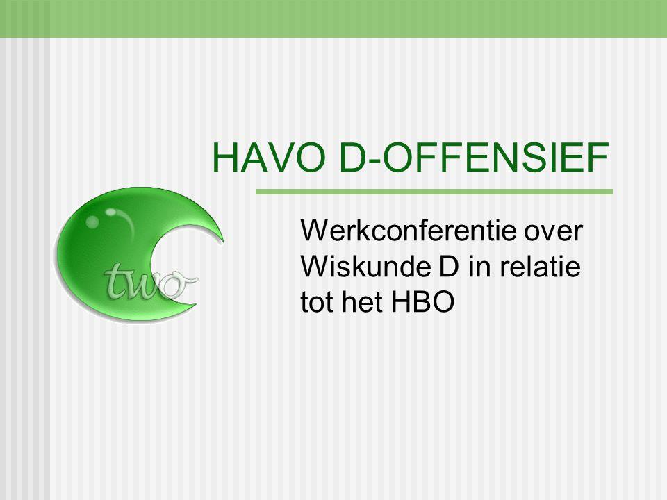 HAVO D-OFFENSIEF Werkconferentie over Wiskunde D in relatie tot het HBO