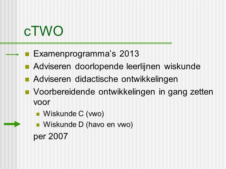 cTWO Examenprogramma's 2013 Adviseren doorlopende leerlijnen wiskunde Adviseren didactische ontwikkelingen Voorbereidende ontwikkelingen in gang zette