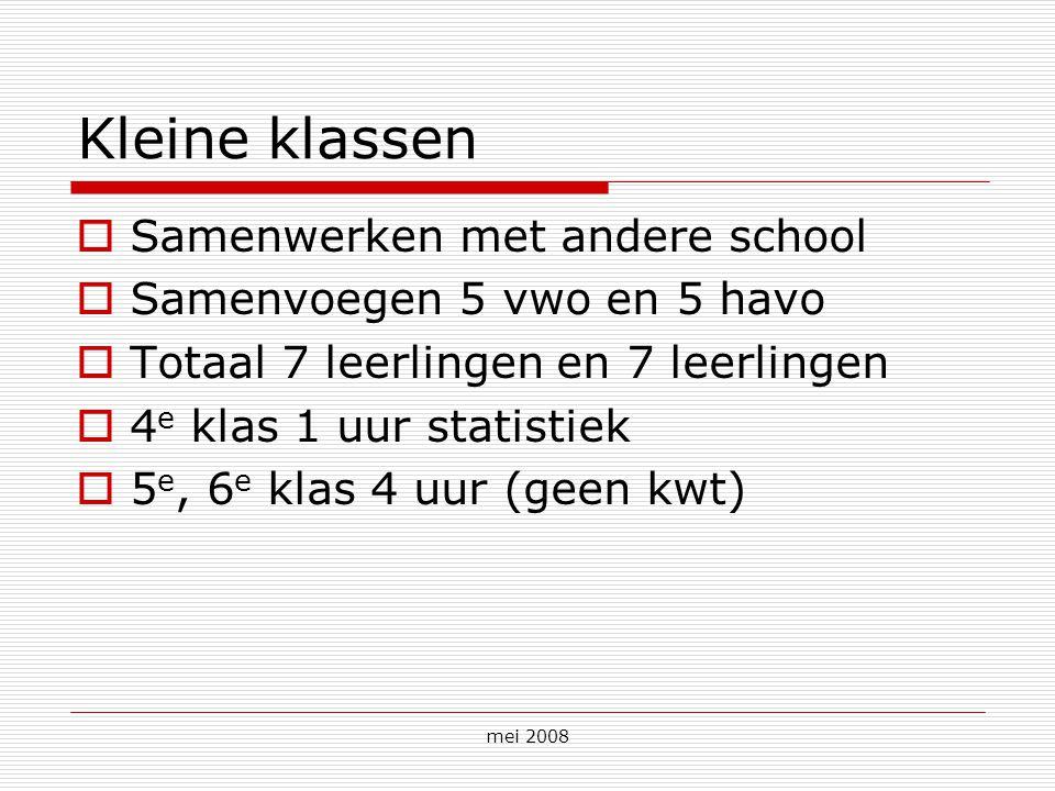 mei 2008 Kleine klassen  Samenwerken met andere school  Samenvoegen 5 vwo en 5 havo  Totaal 7 leerlingen en 7 leerlingen  4 e klas 1 uur statistie