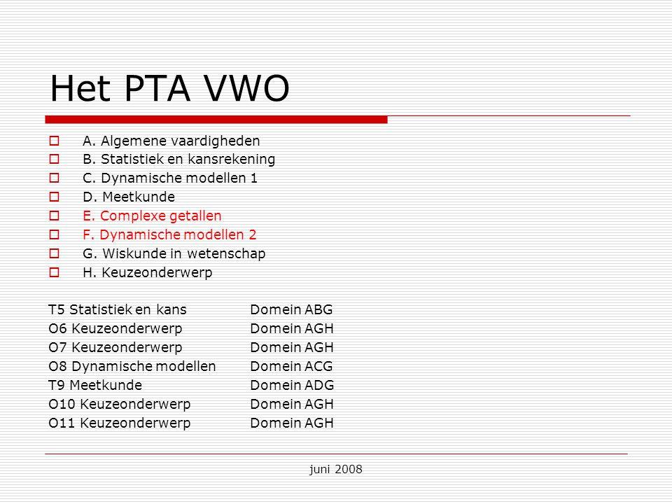 juni 2008 Het PTA VWO  A. Algemene vaardigheden  B. Statistiek en kansrekening  C. Dynamische modellen 1  D. Meetkunde  E. Complexe getallen  F.