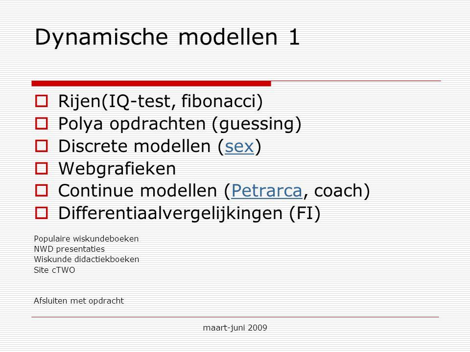 maart-juni 2009 Dynamische modellen 1  Rijen(IQ-test, fibonacci)  Polya opdrachten (guessing)  Discrete modellen (sex)sex  Webgrafieken  Continue