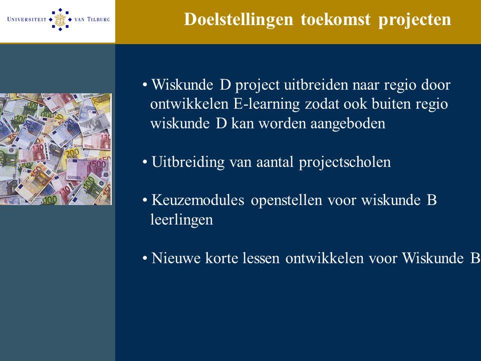 Doelstellingen toekomst projecten Wiskunde D project uitbreiden naar regio door ontwikkelen E-learning zodat ook buiten regio wiskunde D kan worden aa