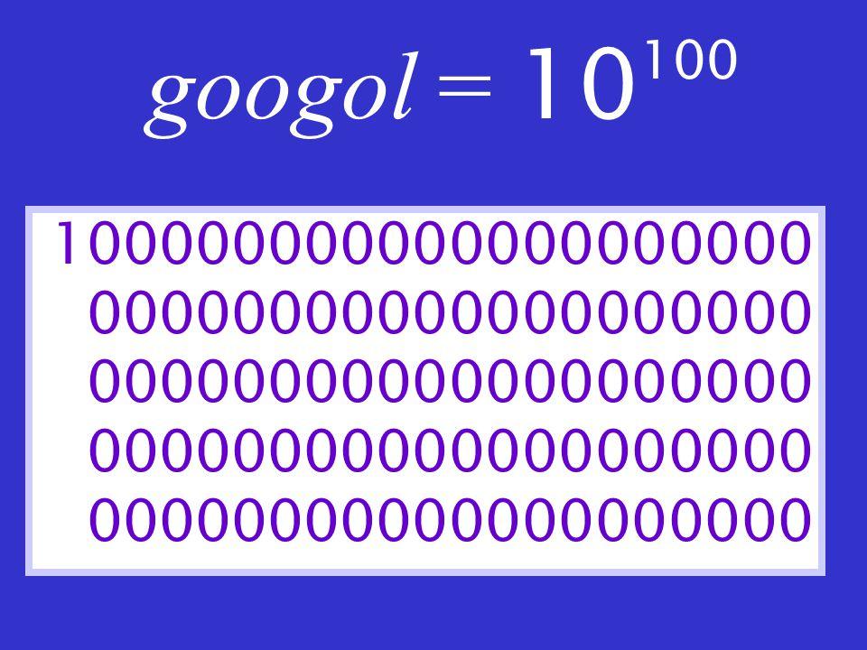 googol = 10 100 100000000000000000000 00000000000000000000