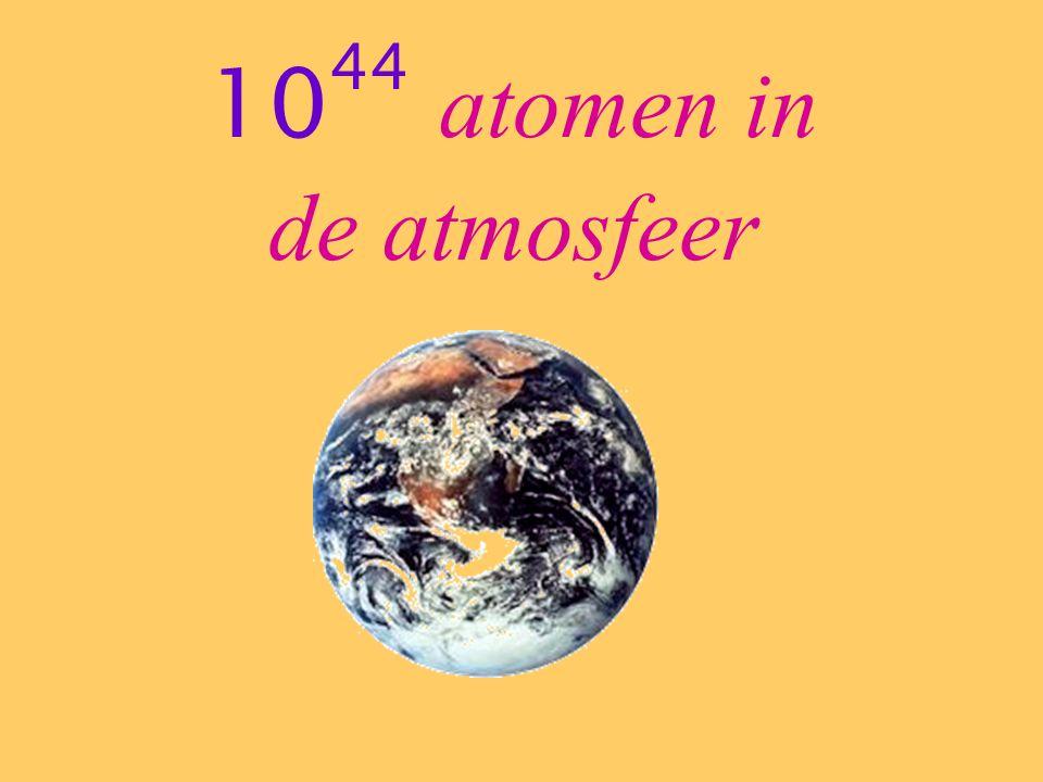 10 44 atomen in de atmosfeer