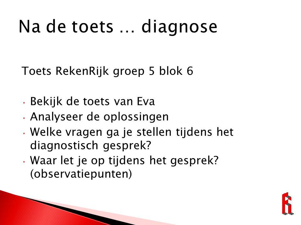 Toets RekenRijk groep 5 blok 6 Bekijk de toets van Eva Analyseer de oplossingen Welke vragen ga je stellen tijdens het diagnostisch gesprek.