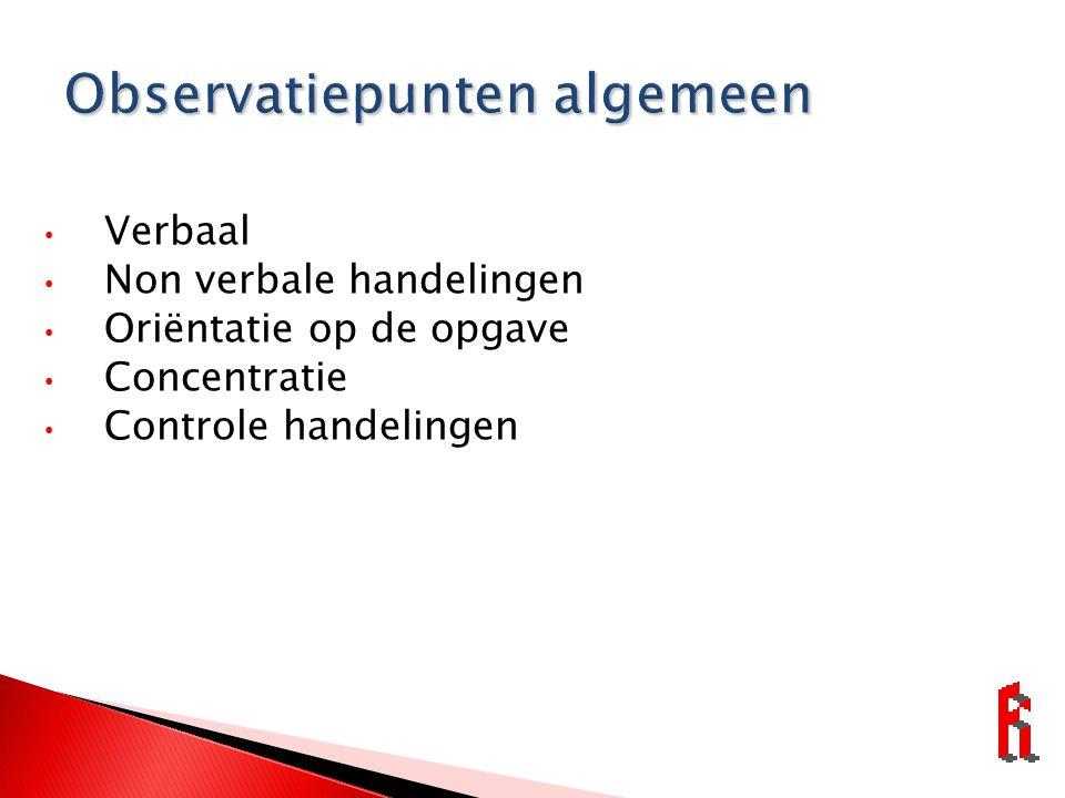 Verbaal Non verbale handelingen Oriëntatie op de opgave Concentratie Controle handelingen