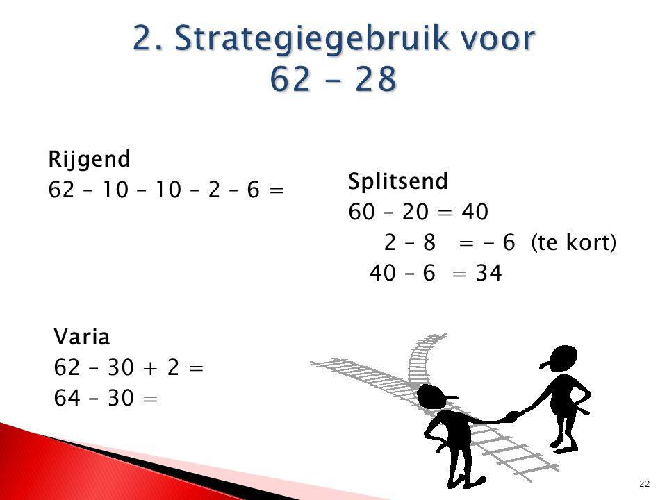 22 Rijgend 62 – 10 – 10 – 2 – 6 = Splitsend 60 – 20 = 40 2 – 8 = - 6 (te kort) 40 – 6 = 34 Varia 62 – 30 + 2 = 64 – 30 =