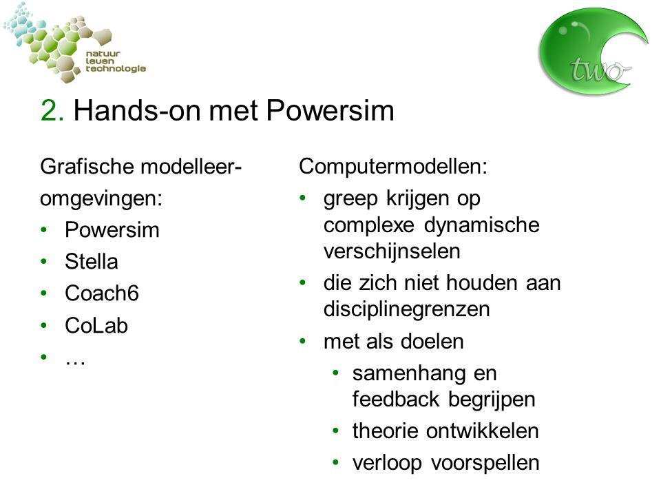 2. Hands-on met Powersim Grafische modelleer- omgevingen: Powersim Stella Coach6 CoLab … Computermodellen: greep krijgen op complexe dynamische versch