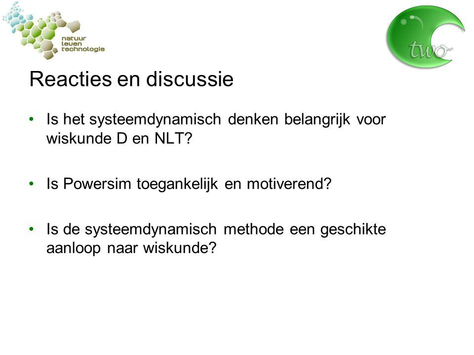 Reacties en discussie Is het systeemdynamisch denken belangrijk voor wiskunde D en NLT.